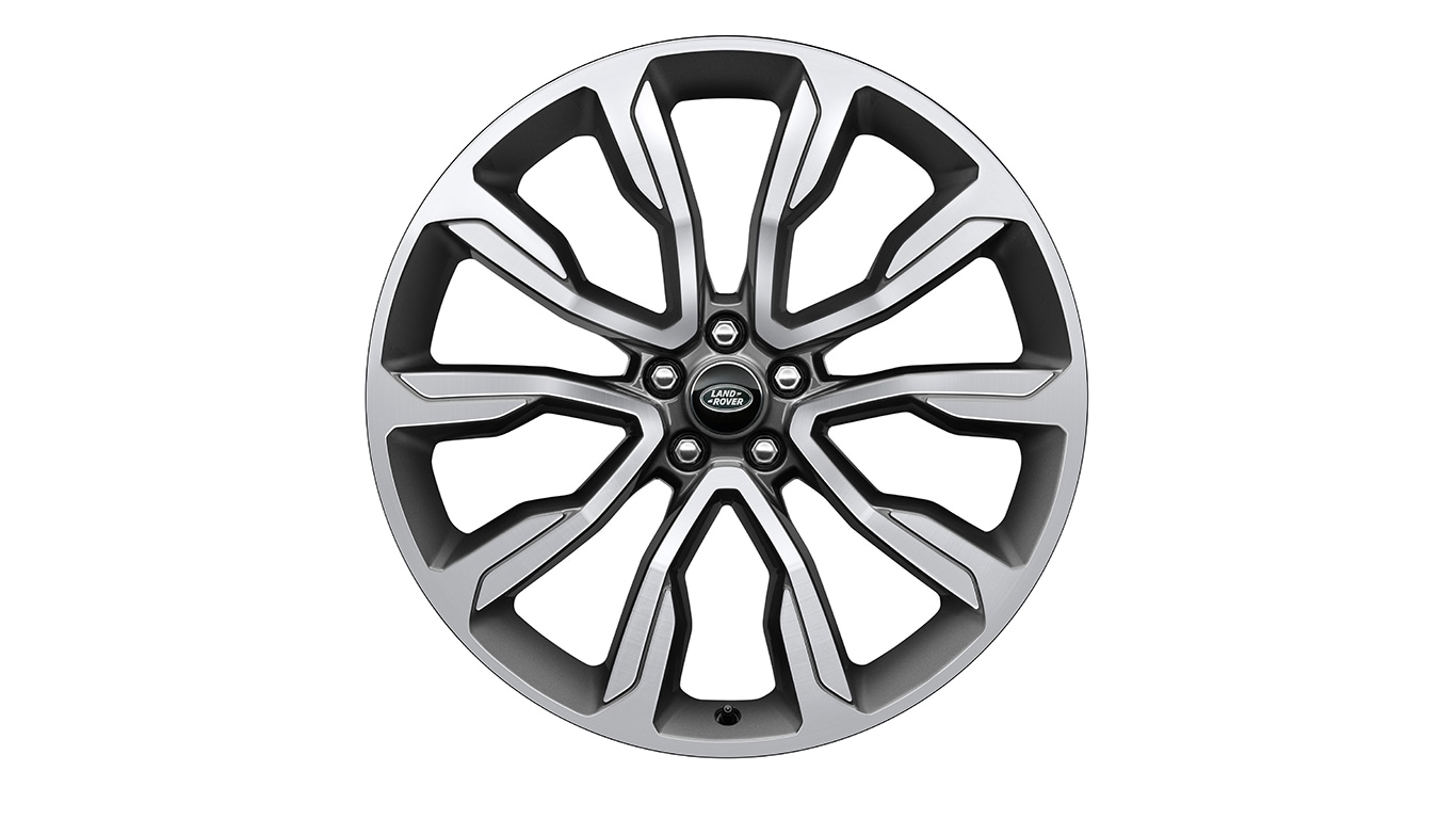 "Alloy Wheel - 22"" Style 1051, 10 spoke, Diamond Turned with Satin Technical Grey finish"